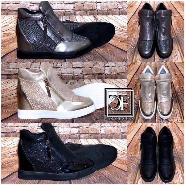 Fashion Damen Zipp Sportschuhe Sneakers Glänzend mit erhöhter Innensohle Keil Keilsneakers