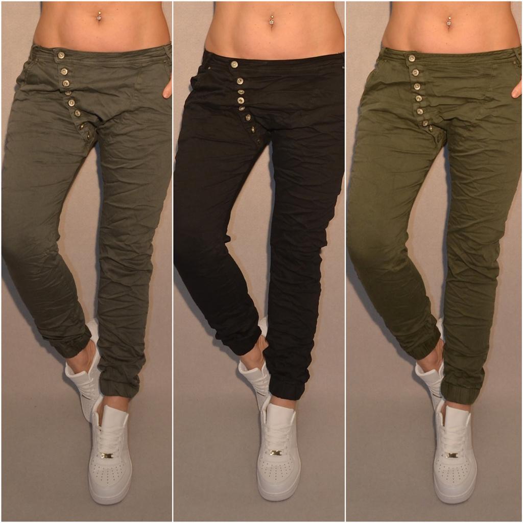 Lässige stretch Harems JEANS mit seitlich angebrachten Knöpfen    Freizeithosen   Damenmode   Mode   Coral Fashion 9a37720a34