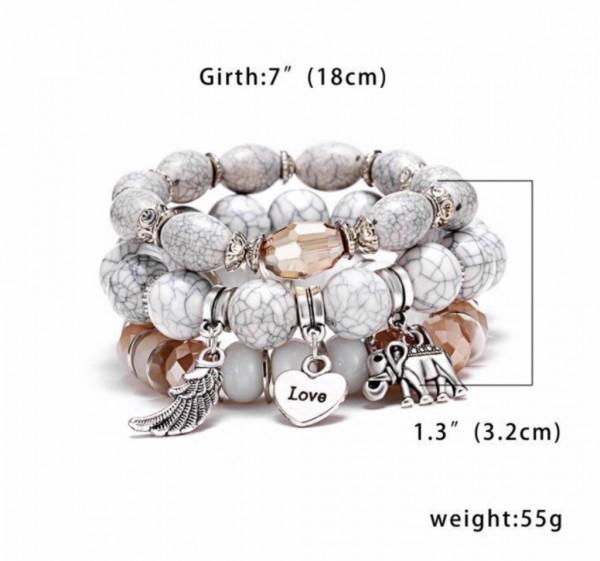 Fashion Damen Boho Schmuck Set Armband 3 teilig mit Perlen Beads grau weiß