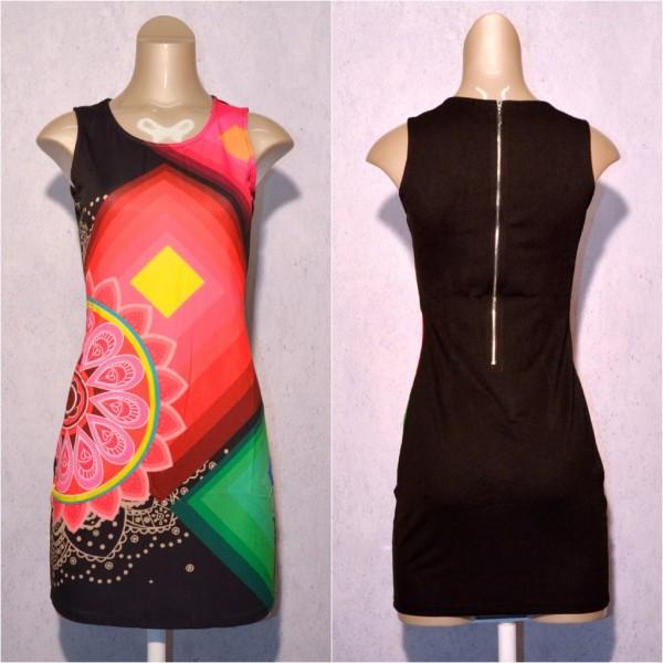 Fashion stretch Kleid / Sommerkleid mit Blumen Muster SCHWARZ / Bunt