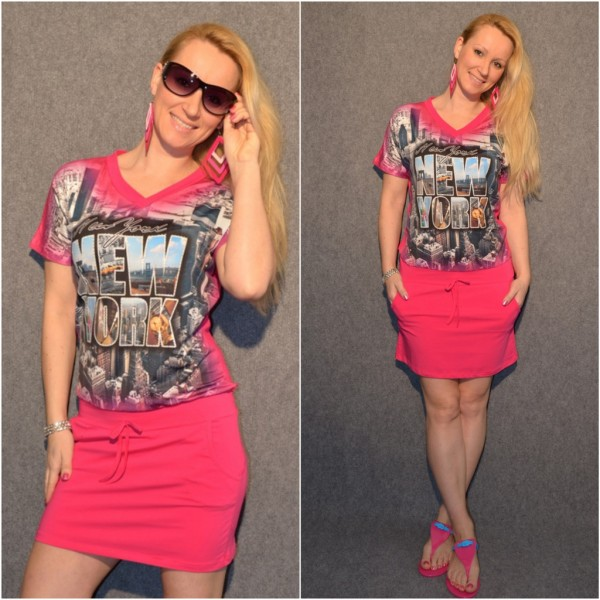 NEW YORK Kurzarm Kleid PINK