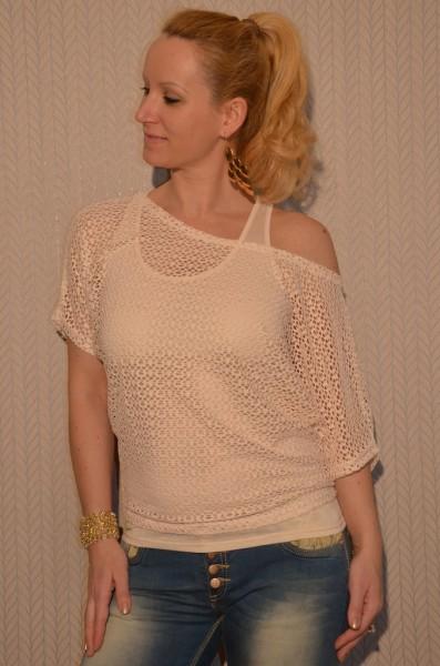 2 teiliges Kurzarm NETZ Shirt BEIGE