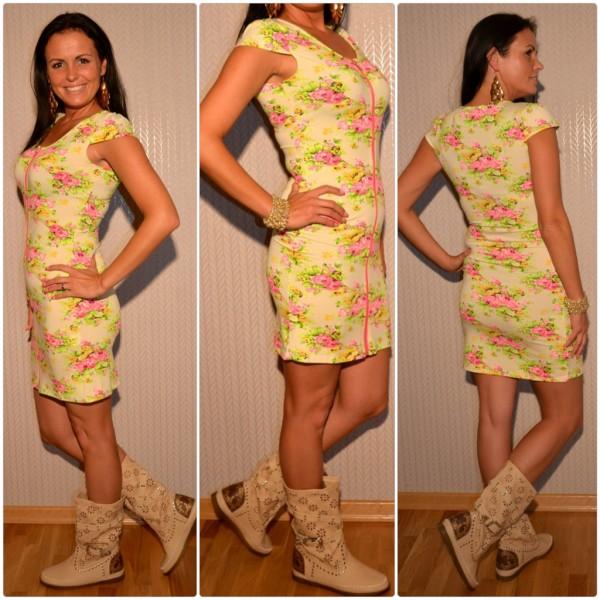 Kurzes geblümtes Kleid mit Zipverschuss CREME