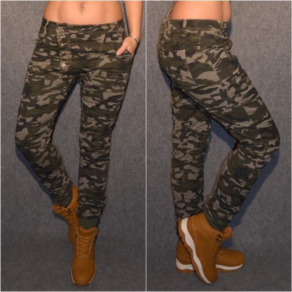 Coole Stretch CAMOUFLAGE Jeans mit Knöpfen