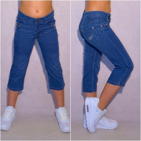 Mädchen Kinder stretch Denim Jeans 3/4 Capri Shorts mit weißem Gürtel Blau