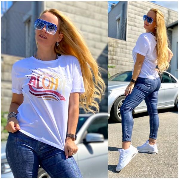 *Einzelstück Italy Damen ALOHA T-Shirt WEISS / Marke PLEASE Fashion