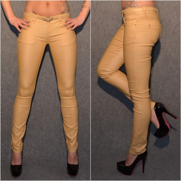 *ANGEBOT Fashion stretch Hose mit Gürtel SENFBRAUN