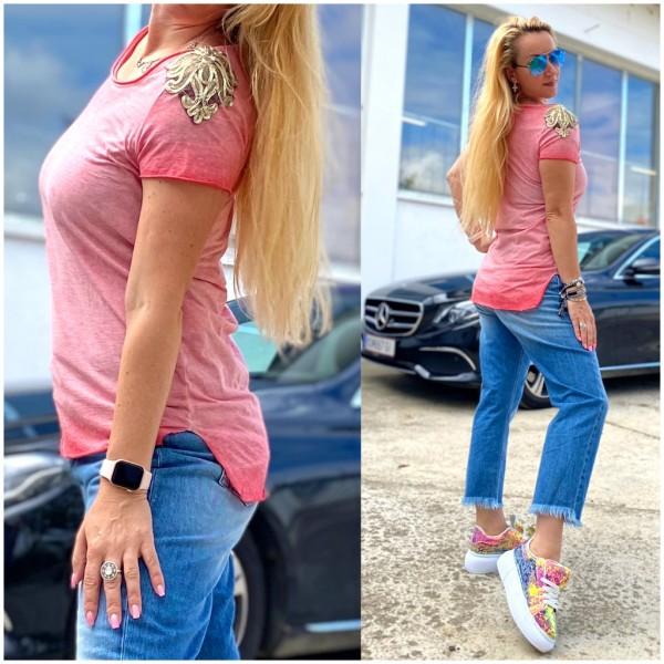 *Einzelstück Italy Damen Shirt T-Shirt mit goldenen Applikationen ROT / Marke PLEASE Fashion