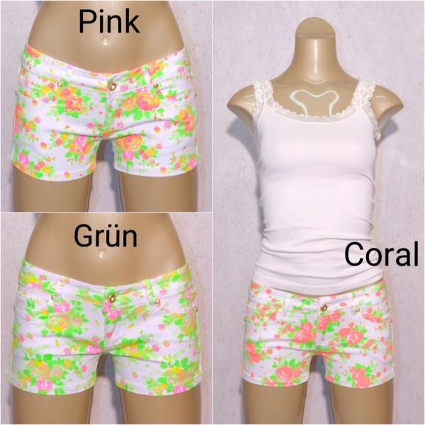 Sexy Damen stretch Denim Jeans Shorts Hotpants Weiß mit Blumen print