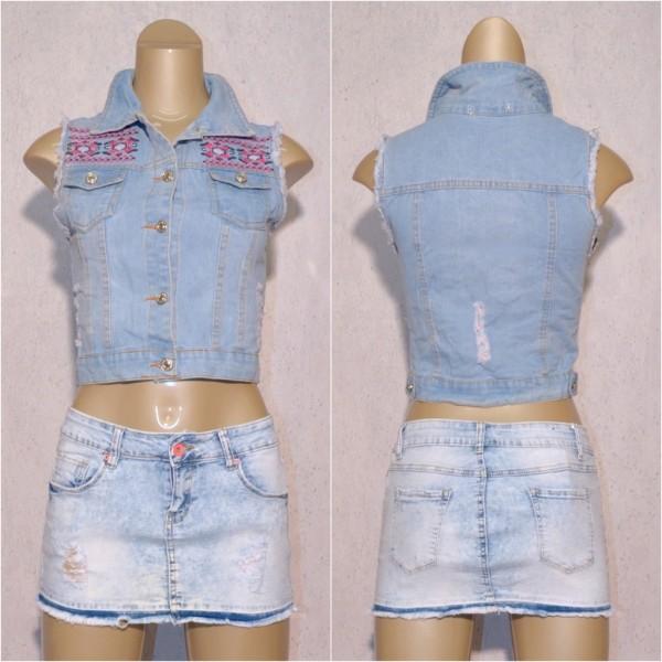 buy online 2e474 8e406 Damen Denim JEANS GILET Weste ärmellose Jacke Destroyed mit Stickerei Blau