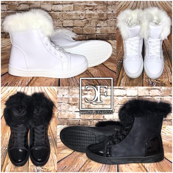 Fashion Winter Sneakers / Stiefeletten mit Kunstfell gefüttert