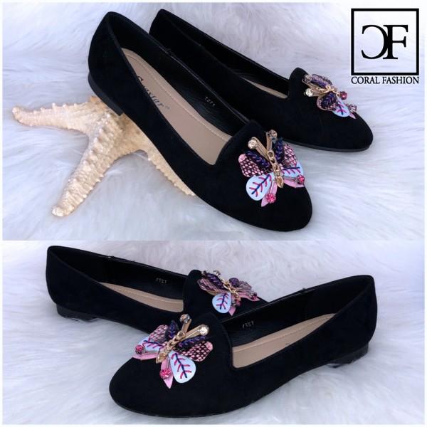 Fashion Ballerinas / Slip On Schuhe Strass / Schmetterling SCHWARZ