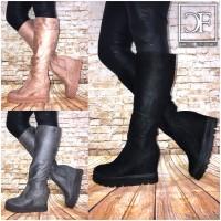 2in1 Langschaft Keilstiefel / Stiefel / Stiefeletten in Boots Look (Mit erhöhter Innensohle)