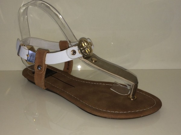 Zehentrenner SANDALETTEN in TOMMY Look GOLD / CAMEL / WHITE
