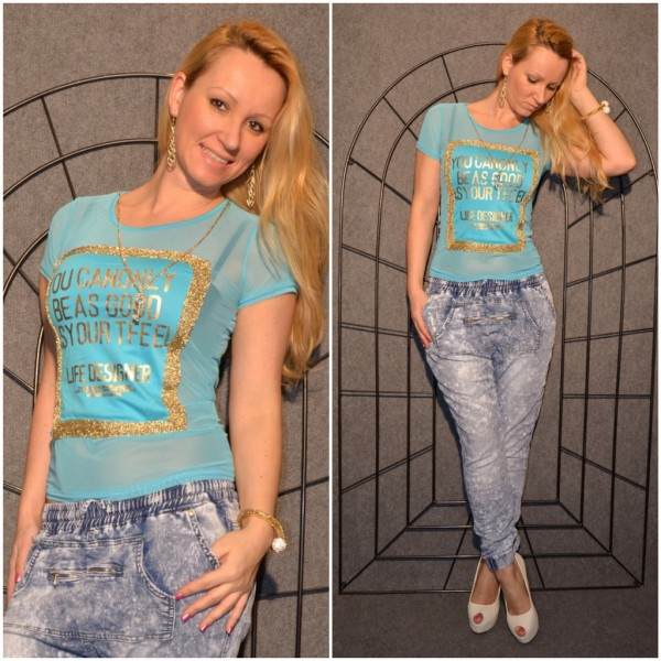 LIFE DESIGNER Shirt mit goldenem print TÜRKIS