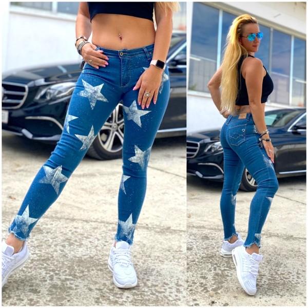 Italy Damen stretch Denim JEANS Hose mit weißen Sternen Blau / Marke PLEASE Fashion