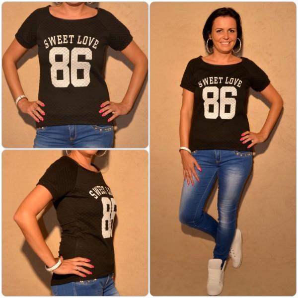Stylisches Shirt mit SWEET LOVE 86 print SCHWARZ