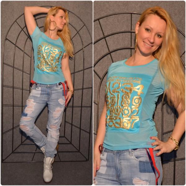 NUMBERS Shirt mit goldenem print TÜRKIS