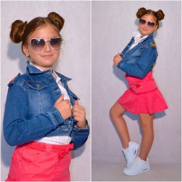 Mädchen Kinder stretch Denim JEANSJACKE Jeans Blau