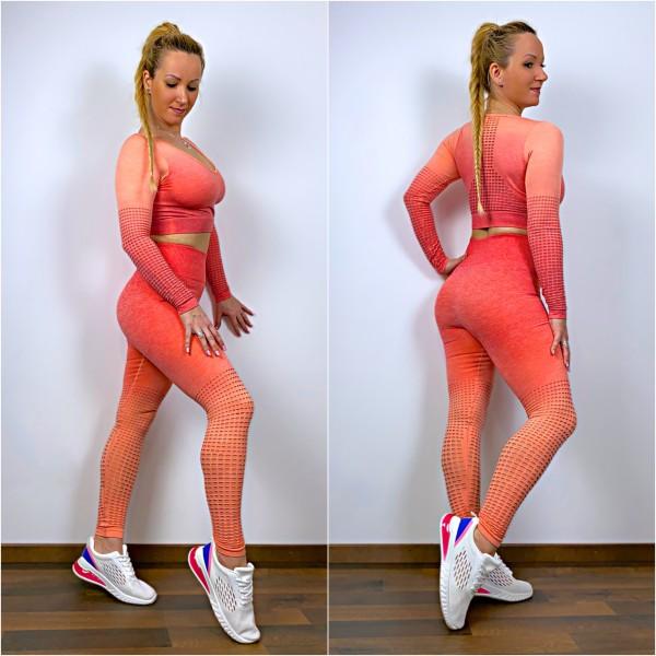 Damen Workout Sport Fitness Outfit mit Lochmuster Set 2 Teiler Leggings + LA Shirt Coral
