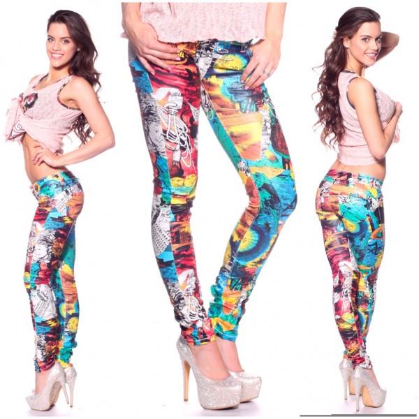 Fashion stretch JEANS color COMIC print