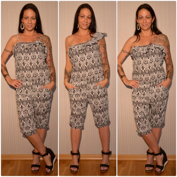 Sommer Jumpsuit / Overall 3 in 1 WEISS / SCHWARZ