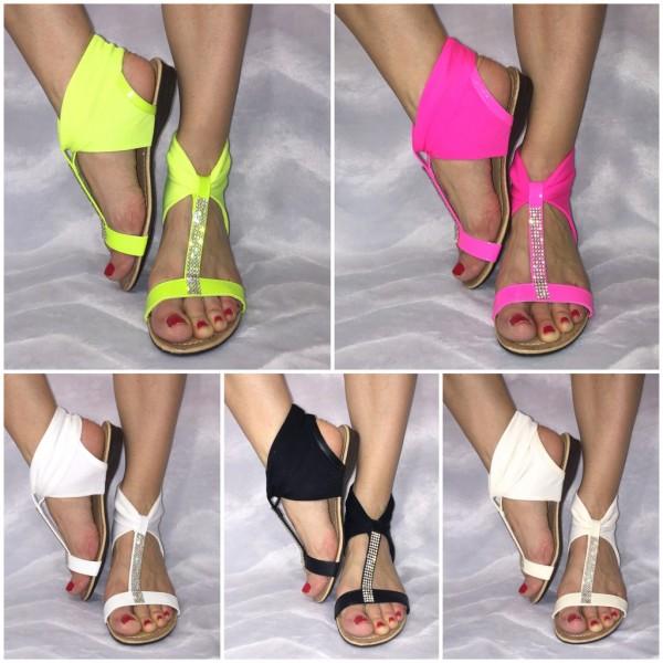 Moderne Sandaletten mit JERSEY Einsatz & Strass
