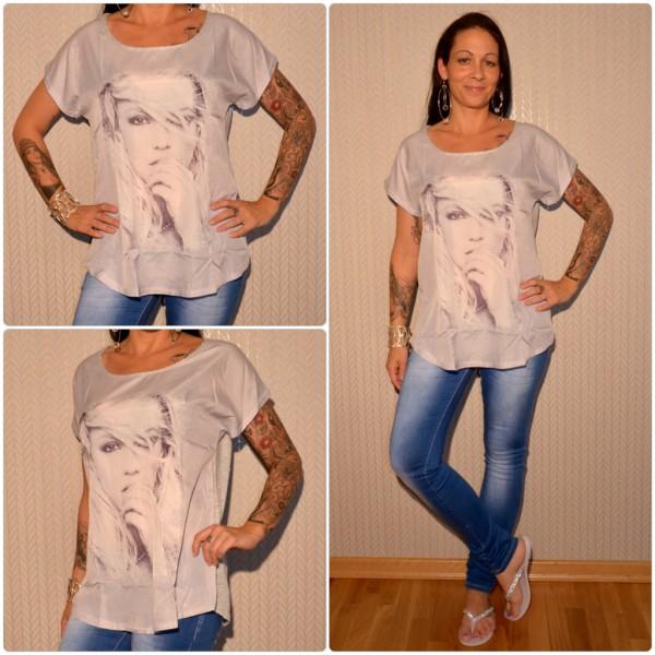 Stylisches Shirt Modell: Strasshand Lady GRAU