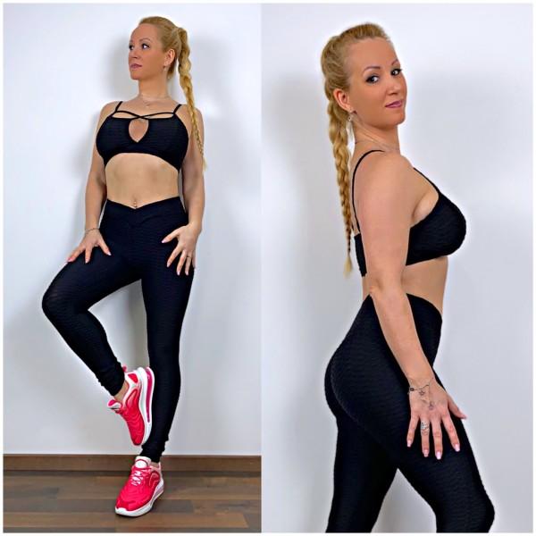 Damen Workout Sport Fitness Outfit Set 2 Teiler Leggings + Sport BH Schwarz