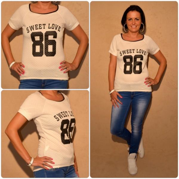 Stylisches Shirt mit SWEET LOVE 86 print WEISS