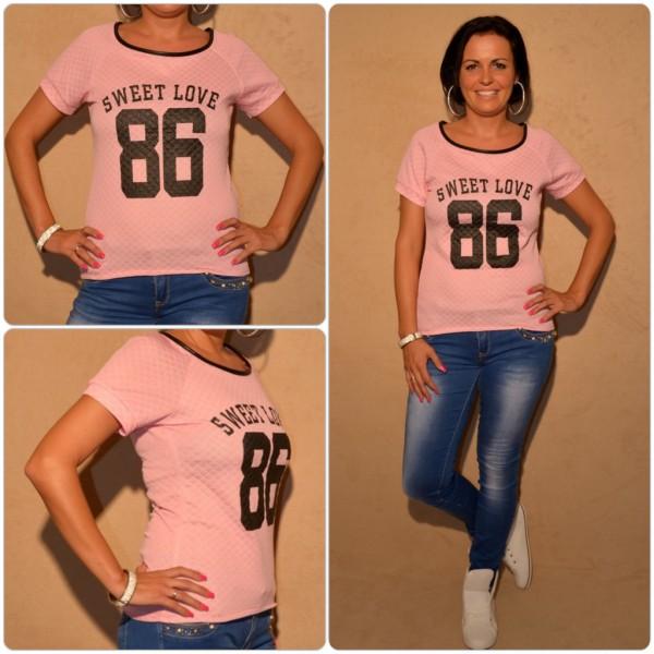 Stylisches Shirt mit SWEET LOVE 86 print ROSA