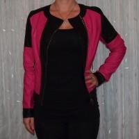 Stylische Damen Jacke zweifarbig PINK / SCHWARZ