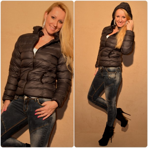 purchase cheap 2f08d e79dd Kurze wattierte Damenjacke mit Kapuze SCHWARZ / GRAU