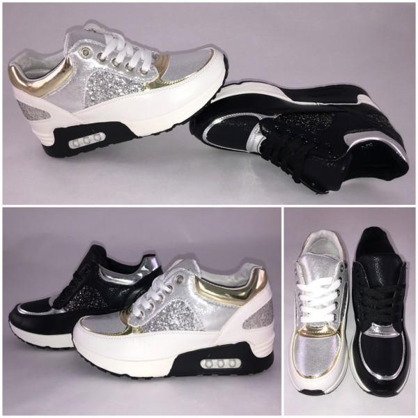 Coole GLITZER Sportschuhe / Sneakers mit erhöhter Inensohle