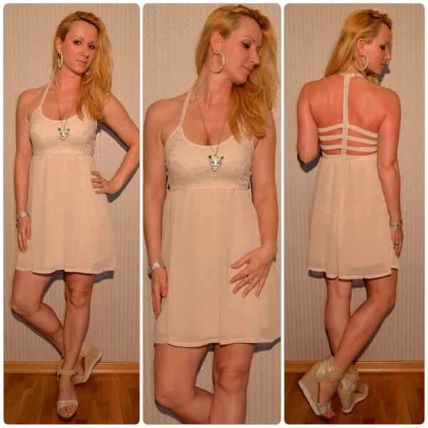 Kurzes Sommerkleid mit ausgefallenem Ausschnitt BEIGE