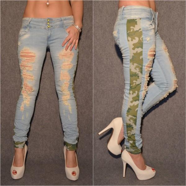 Stretch DESTROYED Jeans mit CAMOUFLAGE Streifen seitlich