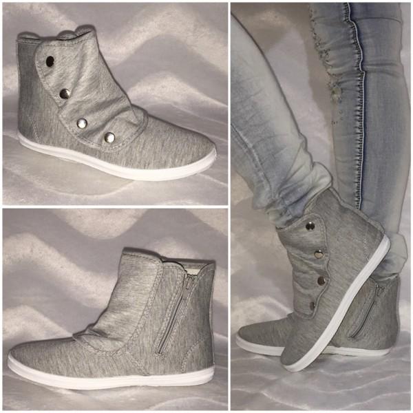 JERSEY Sneakers mit Druckknöpfen GRAU