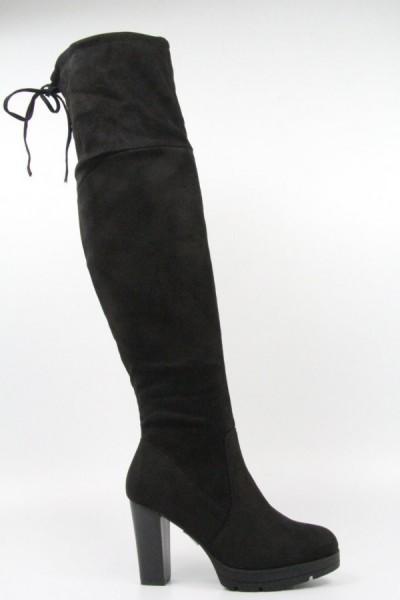 Damen OVERKNEEs Overkneestiefel High Heels Langschaft Stiefel in Wildleder Optik mit Absatz SCHWARZ