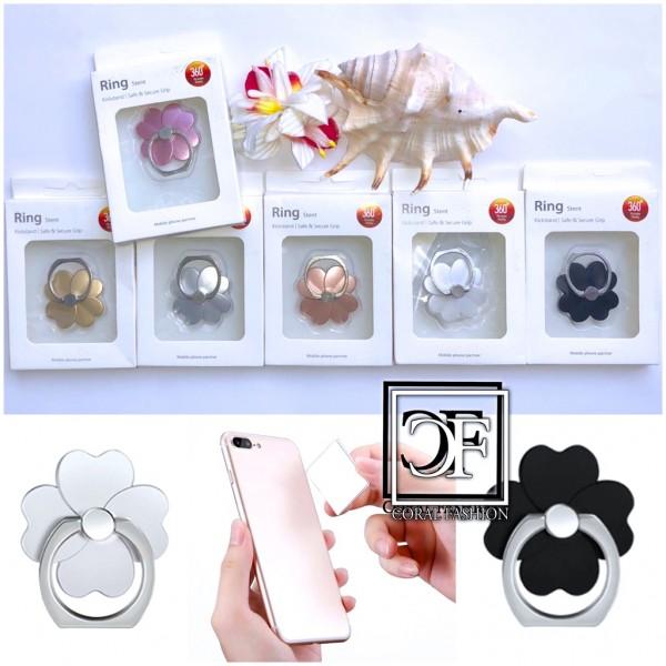 360° drehbarer Smartphone Fingerhalter KLEEBLATT Fingergriff Halterung Handy Hülle Ring Ringhalter