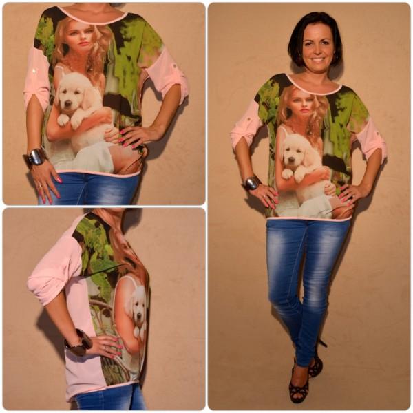 Luftige Tunika Modell: LADY mit WELPE ROSA