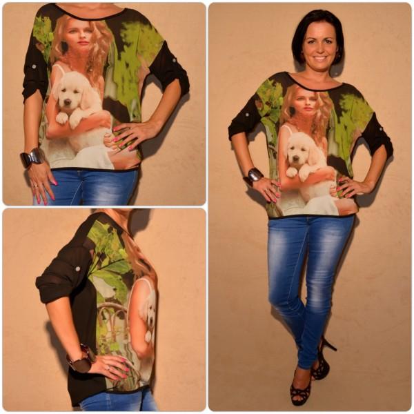 Luftige Tunika Modell: LADY mit WELPE SCHWARZ