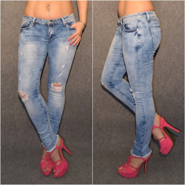 SEXY stonewashed Destroyed stretch Jeans / an den Beinenden ausgefranst