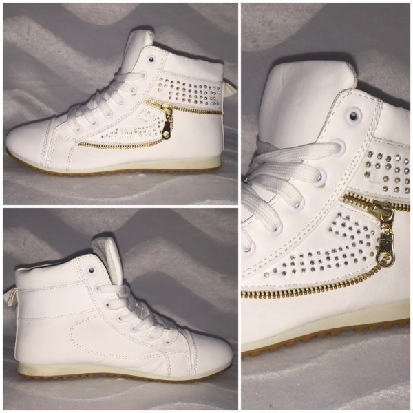 Lässige Sneakers mit ZIPP & STRASS besetzt WEISS