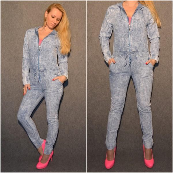 Lässiger Jeans OVERALL / JUMPSUIT mit Kapuze