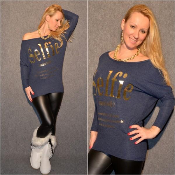 Stylisches SELFIE Longshirt mit Fledermausärmeln DUNKELBLAU