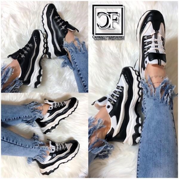 Damen 2 COLOR Glitzer Chunky 8 Sneakers Sportschuhe Black / White