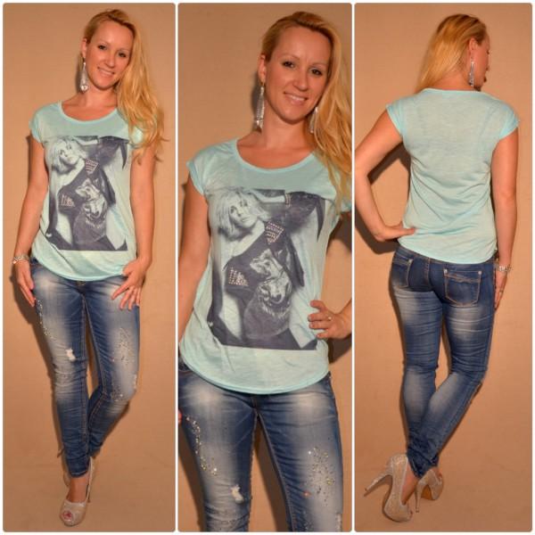 Stylisches Shirt Modell: LADY BLAU / TÜRKIS