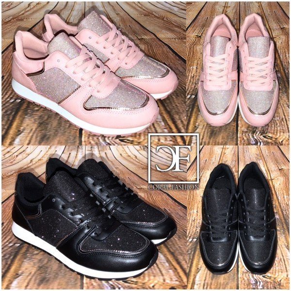 Coole GLITZER Fashion Sportschuhe / Sneakers