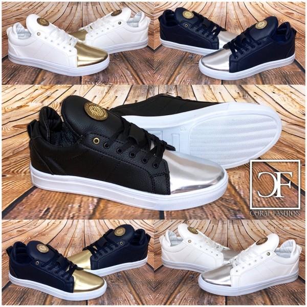 HERREN Fashion LOW CUT Sportschuhe / Sneakers mit goldenem Emblem in 5 Farben
