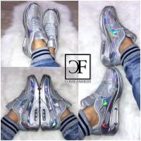 HOLO glanz AIR Sportschuhe / Sneakers mit GLITZER Silber